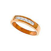 QP Jewellers White Topaz Princess Prestige Ring in 14K Rose Gold