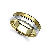 Bespoke Hand-Made 18 carat Yellow & White Gold 7mm Flat Court Wedding / Commitment Ring,