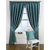 KLiving Pencil Pleat Ravello Faux Silk Lined Curtain 90x90 Inches Teal