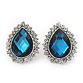 Sky Blue Crystal Teardrop Stud Earrings In Silver Tone Metal - 2.5cm Length