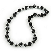 Black/White 'Dice' Necklace - 56cm Length