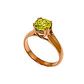 QP Jewellers 1.10ct Peridot Solitaire Ring in 14K Rose Gold