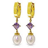 QP Jewellers Amethyst & Pearl Droplet Huggie Earrings in 14K Gold