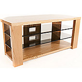 Optimum Solid Oak TV Stand with Smoked Glass Shelves