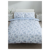 Tesco 100% Cotton Floral Duvet Cover Set Double Pale Blue