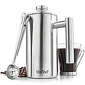 VonShef 6 Cup Stainless Steel Cafetiere with spoon