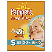 Pampers Simply Dry Size 5 Carry Pack - 20 nappies