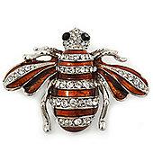 Cute Clear Crystal Brown Enamel 'Bee' Brooch In Rhodium Plating - 5cm Width
