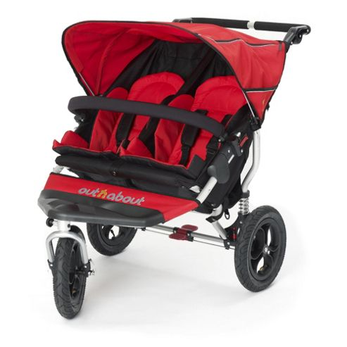 Out n About Nipper 360 Double Pushchair, Carnival Red