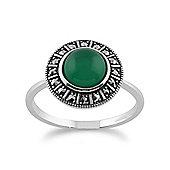 Gemondo 925 Sterling Silver Art Deco 1.42ct Green Chalcedony & Marcasite Ring