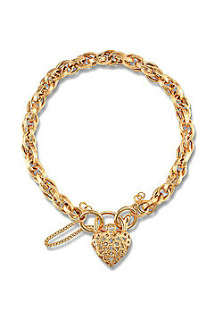 Jewelco London 9ct Yellow Gold Engraved Victorian style Prince of Wales Bracelet with padlock fitting