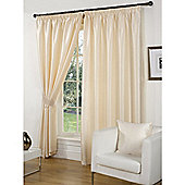 Faux Silk Lined Pencil Pleat Cream Curtains & Tiebacks - 66 x 72 Inches