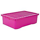 Tesco Plastic 32L Underbed Storage Box, Pink