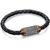 Fred Bennett Stainless Steel Black Leather Brown PVD & Chain Detail Bracelet