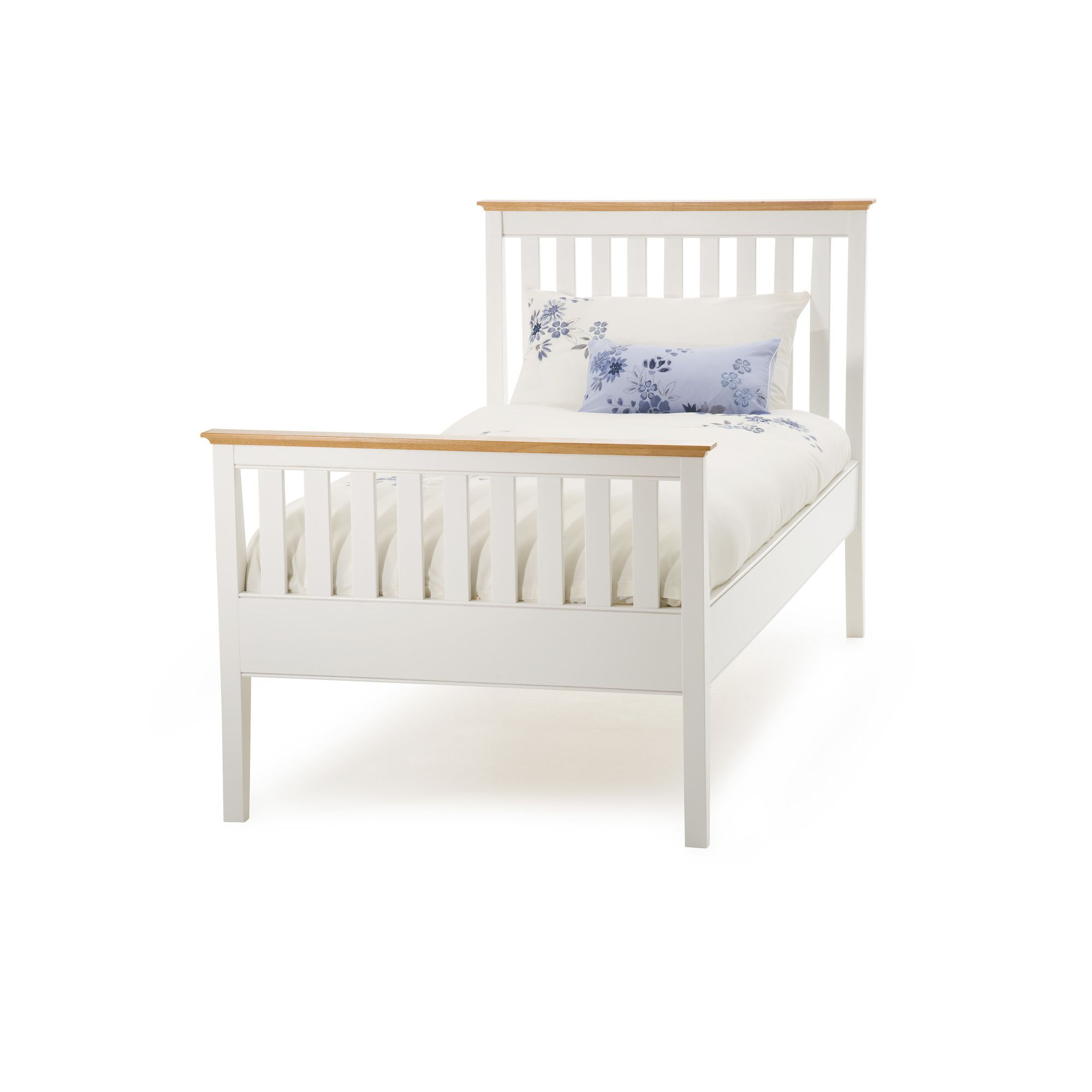 Serene Furnishings Grace High Foot End Bed - Golden Cherry with Opal White - Small Double at Tesco Direct