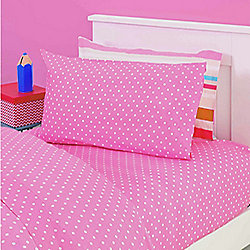 Pink Polka Dot Fitted Single Sheet with Pillowcase - Lilly