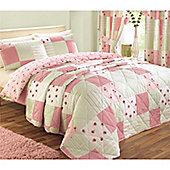 Dreams n Drapes Patchwork Pink 195x229 Bedspread 120gsm