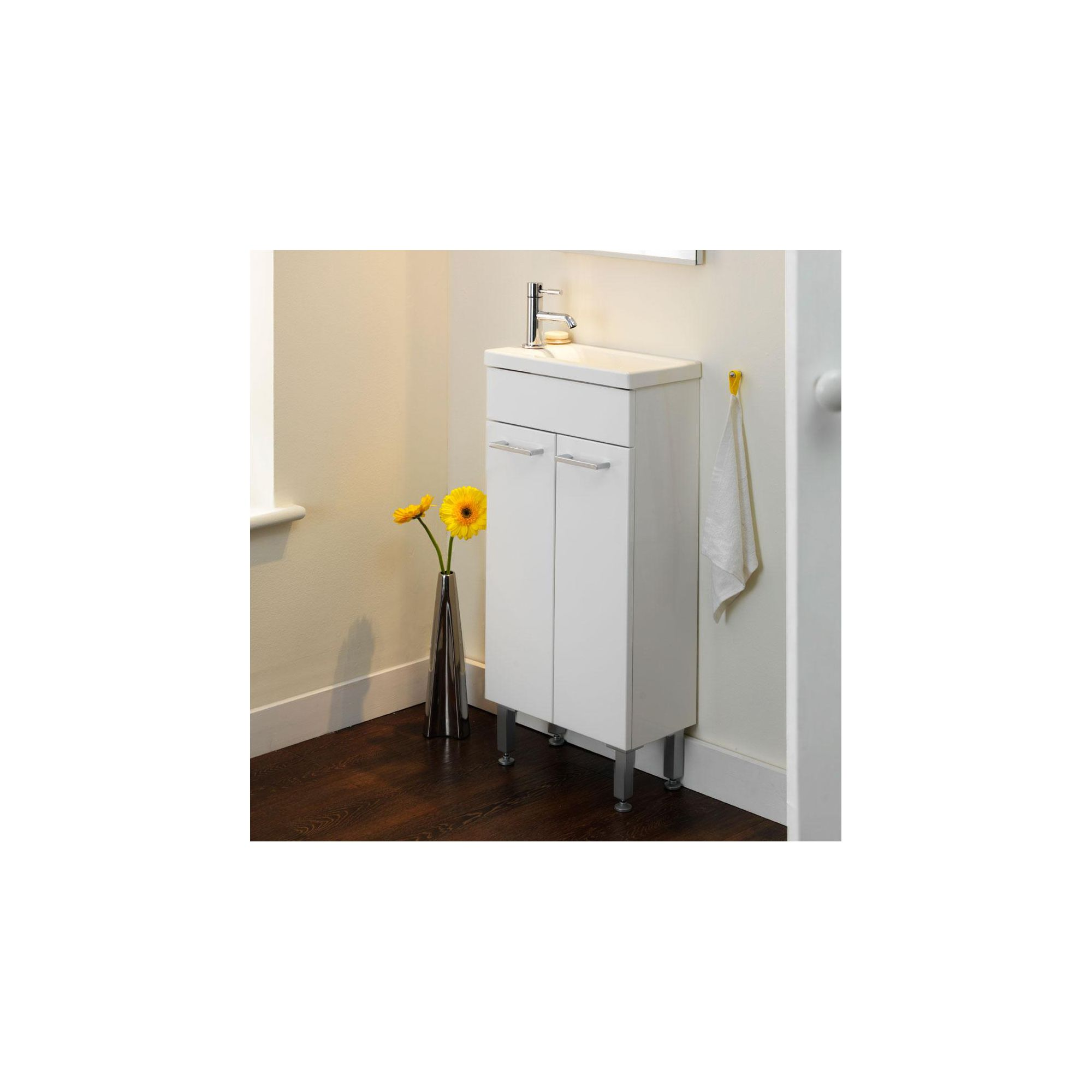 Duchy Trevail White 2 Door Vanity Unit and Basin 390mm Wide x 213mm Deep including Mirror and Cornice