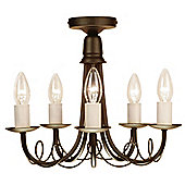 Elstead Lighting Minster Five Light Candle Chandelier - Black/Gold