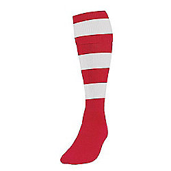 Precision Training Hooped Football Socks Mens Red/White