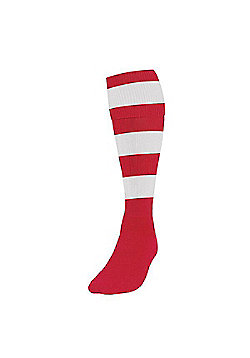 Precision Training Club Weight Stretch Nylon Hooped Football Socks - Red & White