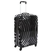 Beverly Hills Polo Club 4-Wheel Hard Shell Suitcase, Black Oyster Print Medium