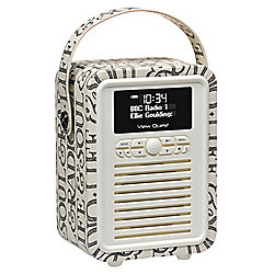 View Quest Emma Bridgewater Retro Mini DAB+/FM Radio with Bluetooth (Black Toast)