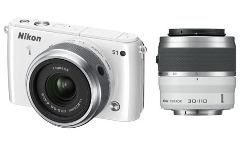 Nikon 1 S1 Mirrorless System Camera White 11-27.5mm, 30-110mm 10MP 3.0 LCD FHD