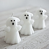 Set of 3 Halloween White Ghost Wax Candles