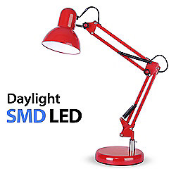 Adjustable Daylight LED Desk Lamp in Gloss Red