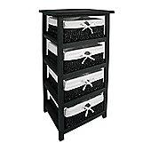 Premier Housewares Storage Unit with Four Maize Baskets - Black