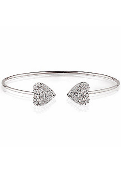 Sterling silver bangle with two pave hearts