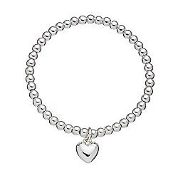 Little Ella Children's Silver Bead Heart Charm Bracelet