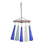 Hand Crafted Glass & Driftwood Hanging Wind Chime - Design B