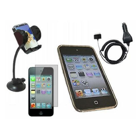 Black ProGel Case, LCD Protector, Car Charger, In Car Holder for iPod Touch 4G