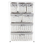 Tesco White Wicker Grey Stripe Lined 7 Drawer Tower