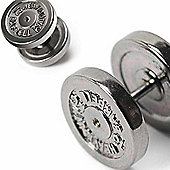 Black Plated Stainless Steel 12mm Dumbbell Fake Expander Stud Earring