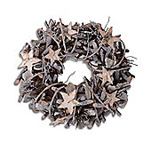 Small Round Hanging Rustic Twig Wreath Decoration with Tree Bark Stars