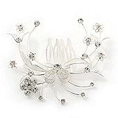 Bridal/ Wedding/ Prom/ Party Rhodium Plated Clear Swarovski Crystal Floral Hair Comb - 85mm