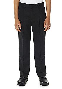 F&F School Boys Pleat Front Reinforced Knee Plus Fit Trousers - Black