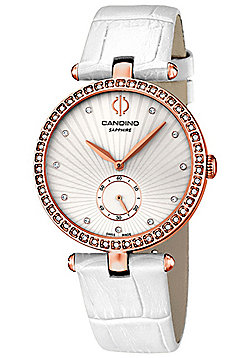 Candino Elegance Ladies White Leather Stone Set Watch C4565/1