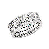 Jewelco London Rhodium-Coated Sterling Silver CZ Triple Eternity Ring Size