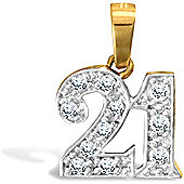 Jewelco London 9ct Solid gold CZ set 21 Pendant,a perfect gift for that special milestone birthday!