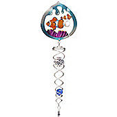 Iron Stop Silver Clownfish Crystal Twister Wind Spinner