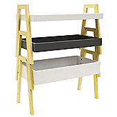 Terry - Three Tier Storage Shelf Unit / Tables - White / Grey