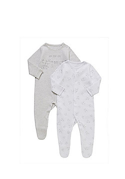 F&F 2 Pack of Bunny and Bear Sleepsuits - Grey & White
