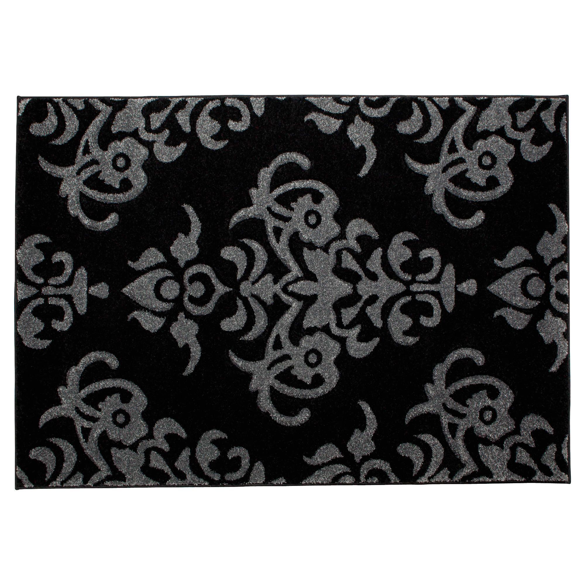 Black And Grey Rugs: Tesco Damask Rug 120x170cm Black/grey
