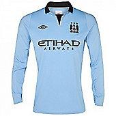 2012-13 Man City Home Umbro Long Sleeve Shirt - Blue