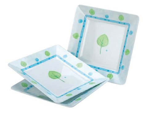 Stow 2667 Mel Sq.Side Plates Lime Leaf X3