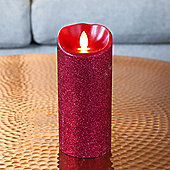 Large Red Glitter Battery Dancing LED Flame Candle